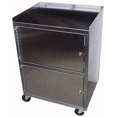 Cabinet Cart 3-Shelf St/S Dual Locking -   Dual Locking Cabinets. Heavy-duty construction. Polished stainless steel with welded construction. Shelves are heavy-duty 22 gauge. Legs are double-thick 16 gauge. Ships by Parcel Freight. Fully enclosed cabinets with hinged doors and keyed locks. 300 Lb. weight capacity.