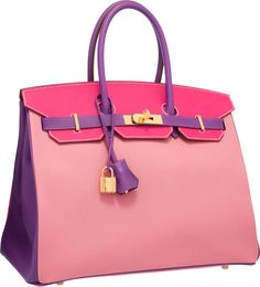 {Hermes Special Order Horseshoe 35cm Rose Confetti, Rose Tyrien & Anemone Epsom Leather Birkin Bag with Gold Hardware.}