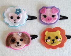 Super cute felt kawaii animals hair clips