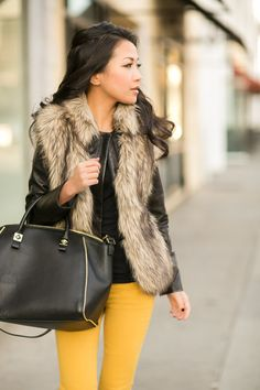 Gold Layers :: Faux fur vest & Canary bottoms : Wendy's Lookbook