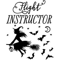 Silhouette Design Store: flight instructor witch
