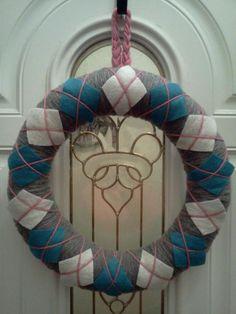 My argyle yarn wreath! Was super easy to make.