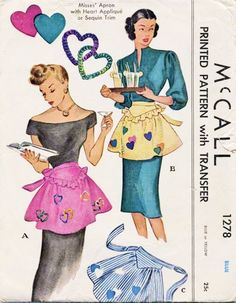 1940s Hostess Party Apron Pattern McCall 1278 Aprons with Heart Applique or Sequin Trim Vintage Sewing Pattern