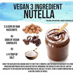 This vegan Nutella is easy to make with just three ingredients! Delicious, plant based, and a perfect snack or breakfast food! Vegan Foods, Vegan Snacks, Vegan Dishes, Vegan Recipes, Cooking Recipes, Healthy Nutella Recipes, Vegan Lunches, Vegan Sweets, Healthy Sweets