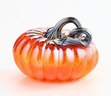 "New 5"" Hand Blown Glass Murano Art Style Pumpkin Sculpture Figurine Fall Orange"