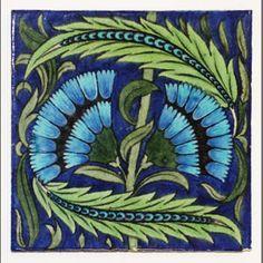 De Morgan cornflower ceramic tile, 1890s