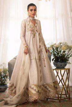 Annus Abrar - Women's clothing Designer. Floria How To Iron Clothes, Silk Pants, White Brand, Silk Thread, Wedding Wear, White Fabrics, Designer Wear, Lace Detail, Party Wear