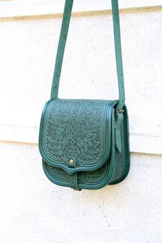 emerald green black tooled leather bag - shoulder bag - crossbody bag - handbag - ethnic bag - messenger bag - for women - capacious by petitJuJu on Etsy https://www.etsy.com/listing/240709932/emerald-green-black-tooled-leather-bag