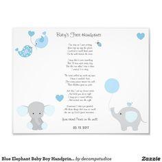 Blue Elephant Baby Boy Handprints Wall Art Photo Print