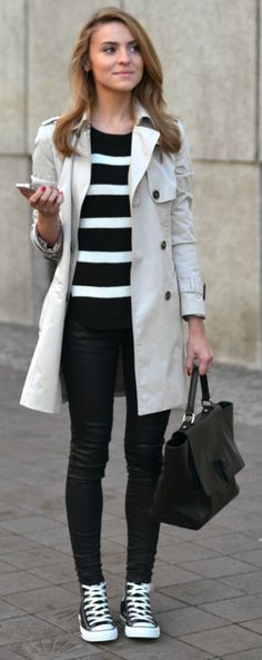 Black converse are the perfect finish to Katarzyna Tusk's trench coat and leather trousers outfit. Trousers: Mango, Sweater: Vila by Answear.com, Coat: Zara, Bag: Minelli.
