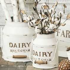 Country Cottage Dairy Cream Milk Can, Set of 2 Antique Farmhouse, Farmhouse Decor, White Farmhouse, Farmhouse Style, Chip And Jo, Milk Cans, Rose Cottage, Colorful Garden, Home Decor Accessories