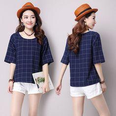 Women's Cotton Linen Shirts Blouses Autumn Spring Females Long Sleeve Loose Plus Size Plaid Shirts Tops New