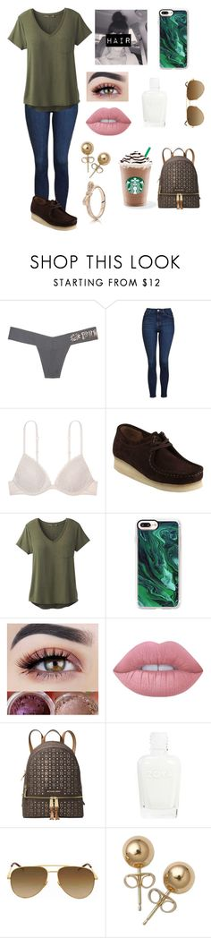 """""""Thursday"""" by amarianamichelle ❤ liked on Polyvore featuring Victoria's Secret, Topshop, Clarks, prAna, Casetify, Lime Crime, Michael Kors, Yves Saint Laurent, Bling Jewelry and Pandora"""