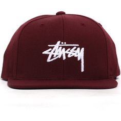 Stussy Stock FA16 Snapback Hat Burgundy (€26) ❤ liked on Polyvore featuring accessories, hats, braid crown, snap back hats, burgundy hat, stussy hat and logo snapback hats