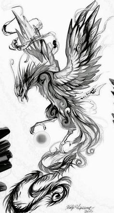 Phoenix sketch – tattoo – # phoenix # tattoo - Gave Ideer Tattoo Design Drawings, Tattoo Sketches, Tattoo Designs Men, Art Sketches, Kunst Tattoos, Body Art Tattoos, Sleeve Tattoos, Crow Tattoos, Ear Tattoos