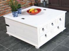 New Mexico sofabord, sofabord med 5 skuffer 91x91 hvit/voks.