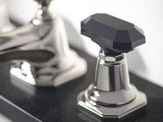 Faceted black faucet knob