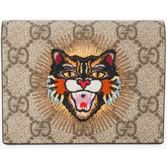 Gucci angry cat appliqué wallet ($295) ❤ liked on Polyvore featuring bags, wallets, card holder wallet, print wallets, card case wallet, folding wallet and snap wallet