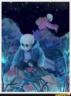 Sans and Papyrus looking through garbage and finding cool stuff.