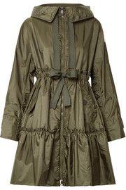 Hooded ruffled shell jacket