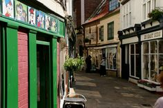 The winding cobbled roads leading through the shops, cafes and pubs of Whitby.