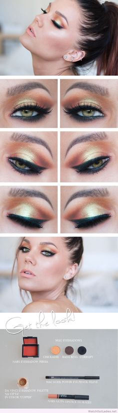 Linda Hallberg wonderful eye makeup with orange, yellow and glitter