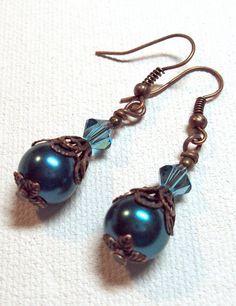 Earrings Montana Blue Southwestern Antique Copper Glass Pearl Swarovski Crystals FREE SHIPPING. $6.95, via Etsy.