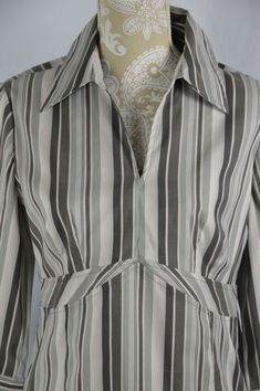 Cato Womens Medium Gray Pink Long Sleeve Striped V-Neck Fitted Dress Shirt #Cato #KnitTop #Casual