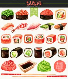 This Sushi package includes separate watercolor hand drawn elements: sushi, uramaki and hosomaki rolls, gunkans, pickled ginger, soy Sushi Drawing, Food Drawing, Recipe Drawing, Royal Icing Transfers, Sushi Party, Pickled Ginger, Sushi Recipes, Sushi Rolls, Chopsticks