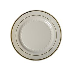 Silver Splendor 6 Inch Ivory Plastic Plate with Gold Band/Case of 150 Tags:  Dessert Plates; Silver Spendor; disposable Dessert Plates;plastic Dessert Plates;catering Dessert Plates;wedding Dessert Plates;;; https://www.ktsupply.com/products/32793330260/Silver-Splendor-6-Inch-Ivory-Plastic-Plate-with-Gold-BandCase-of-150.html