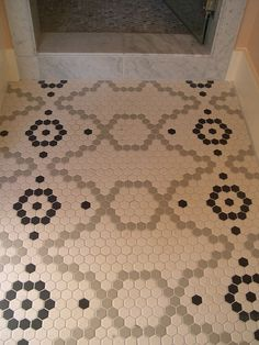 Little Green Notebook: I Have This Thing With Floors (the Hex Tile Chapter) Hex Tile, Penny Tile, Hexagon Tiles, Hexagon Quilt, Mosaic Tiles, Mosaic Floors, Stone Tiles, Floor Patterns, Mosaic Patterns