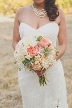 succulent, pink and white bouquet #rusticwedding #bouquet http://www.weddingchicks.com/2013/11/12/sonoma-backyard-wedding/