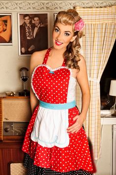 I want this apron! I love clothing that is retro, slightly pin up style and sassy.
