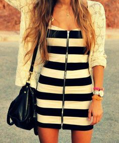 Black and white stripe dress, zip up from the front