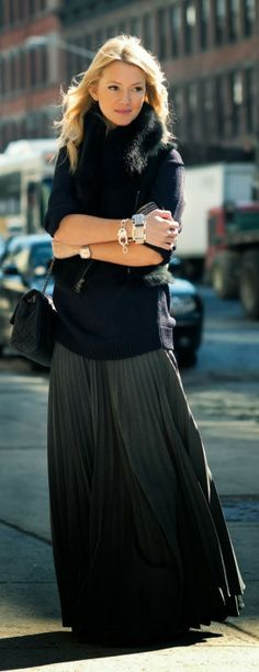 Long Maxi skirt, Sleeve Sweater And Vest Coat