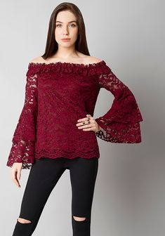 2c04b5a0d9db4 Here Are Some New Collection For 2018 Fashion Oxblood Lace Bell Sleeve Off  Shoulder Top