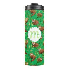 Red Panda & Bamboo Leaves Pattern & Monogram Thermal Tumbler - baby gifts giftidea diy unique cute