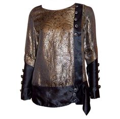 1920's Black Silk & Gold Lame Blouse with Stylized Floral Design