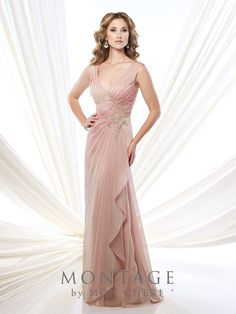 Montage by Mon Cheri - 215907 - Sleeveless two-tone chiffon slim A-line gown with V-neckline, crisscross pleated bodice with hand-beaded lace appliqué, V-back, side draped skirt with ruffle, sweep train. Matching shawl included.  Sizes: 4 - 20, 16W - 26W  Colors: English Rose, Purple Haze, Wedgwood, Light Taupe, Eggplant