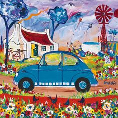 Small Prints A range of small sized images, printed in full colour by lithographic process. Colorful Art, Art Painting, Naive Art, Whimsical Artwork, Whimsical Art, Art, African Art Paintings, South African Artists, Art Transportation