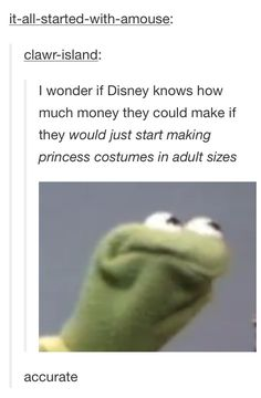Specifically, accurate costuumes. None of this purple on Elsa's dress and frilly green and yellow Tink nonsense