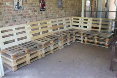 pallet wood | Wood Pallet Furniture With Brick Walls