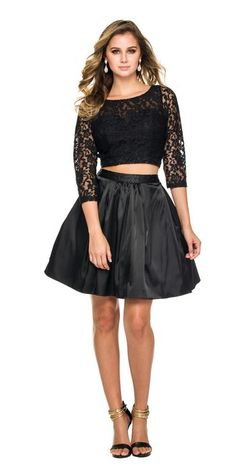 Prima Bella Exclusive - Lace Top and Satin Skirt Two Piece Homecoming Cocktail Dress. Available in Black or Red. We have this dress in stock in Black XS.