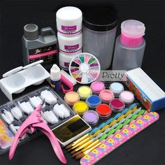 Pro 12 Mix Colors Acrylic Powder Liquid Nail Art French Tips Dappen Dish Kit Set #Unbranded
