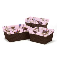 Make your ordinary storage baskets stand out with a set of adorable liners from Sweet Jojo Designs. These unique basket liners are great for adding that special touch to any room and feature a detailed cowgirl print.