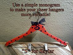 custom painted hangers for CHEER squads and competitions, DANCE teams, POM squads, or drill teams Dance Camp, Cheer Dance, Cheerleading Crafts, Cheer Banquet, Dance Crafts, All Star Cheer, Cheer Party, Senior Gifts, Cheer Stuff