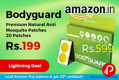 Amazon #LightningDeal is offering 40% off on Bodyguard Premium Natural Anti Mosquito Patches 20 Patches at Rs.199 Only. Premium mosquito repellent patch, Safe for all age groups, including children, DEET free, contains no harmful chemicals, Effective for more than 12 hours. http://www.paisebachaoindia.com/bodyguard-premium-natural-anti-mosquito-patches-20-patches-at-rs-199-only-amazon/
