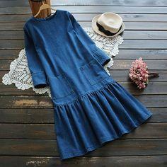 Casual O-neck Pockets Pleated Women Denim Dresses - Street Style Outfits Muslim Fashion, Hijab Fashion, Boho Fashion, Fashion Dresses, Fashion 2017, Trendy Fashion, Fashion Ideas, Street Style Outfits, Mode Outfits