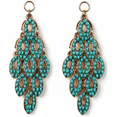 Chandelier Danglers-Gold And Turquoise