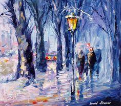 Bleu d'hiver oeuvre - neige émotions — Ville paysage peinture à l'huile sur toile par Leonid Afremov. Taille : 24 « X 20 » pouces (60 cm x 50 cm)
